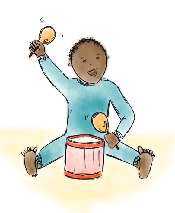Baby hitting drum with maracas